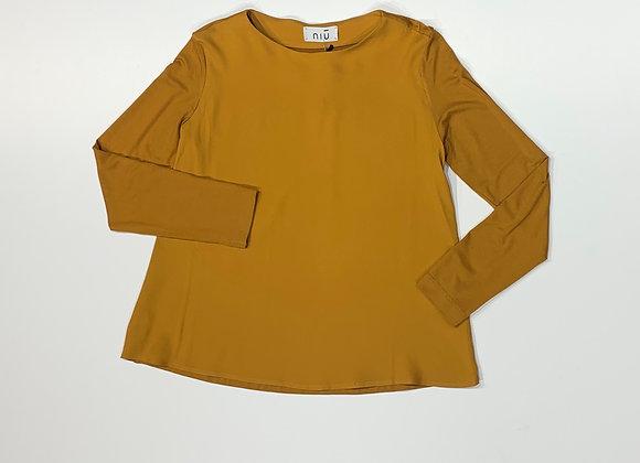 Blusa doppio tessuto seta viscosa color ocra