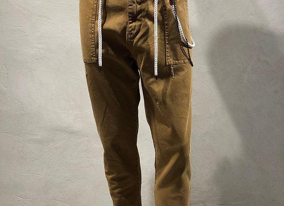 Pantalone canvas coulisse e catena senape BL.11