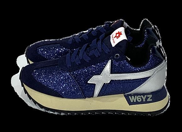 Sneaker in suede e glitter - navy/argento