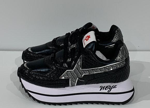 Sneaker in tessuto tecnico con stampa snake nero