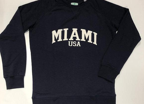 Felpa girocollo blu con scritta bianca Miami