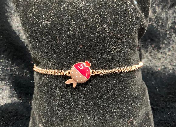Bracciale argento placcato oro rosa pesce smaltato