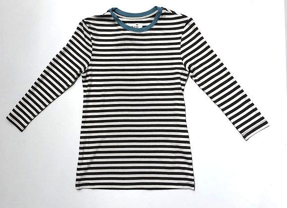 T-shirt  riga marrone bordo azzurro Niu