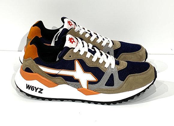 Sneaker in suede, mesh e vitello - tabacco/navy