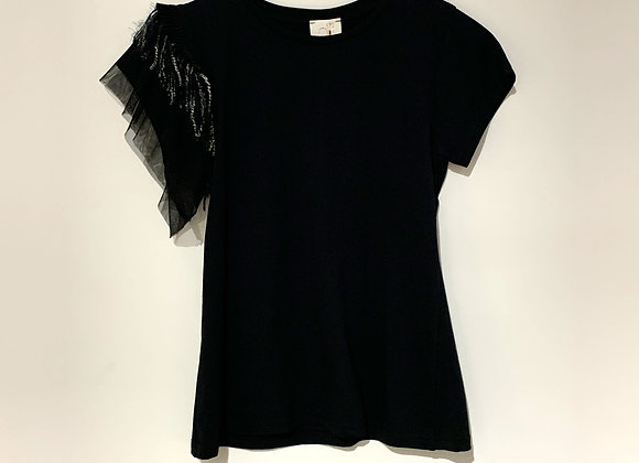 T-shirt nera manica rouche tulle D'Elle