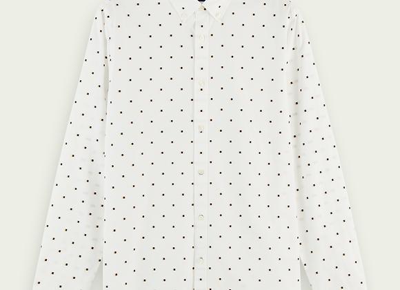 Camicia jacquard fil coupé in cotone biologico