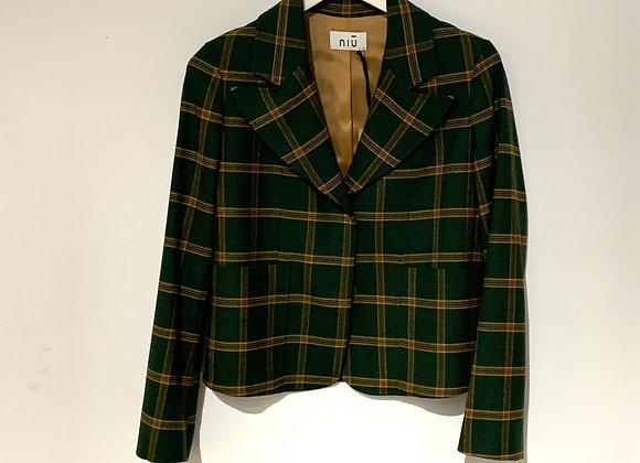 Blazer scozzese corto verde Niù Fashion