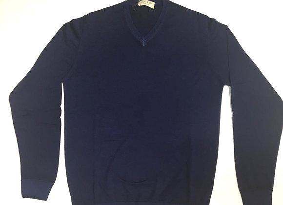 Pullover blu scollo V 100% merinos Wool &Co.