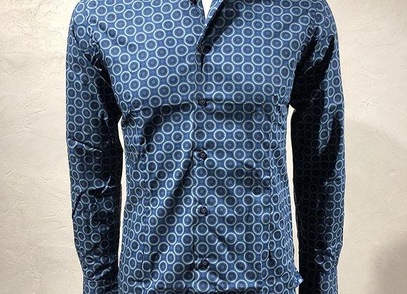 Camicia uomo blu stampa vintage Brancaccio