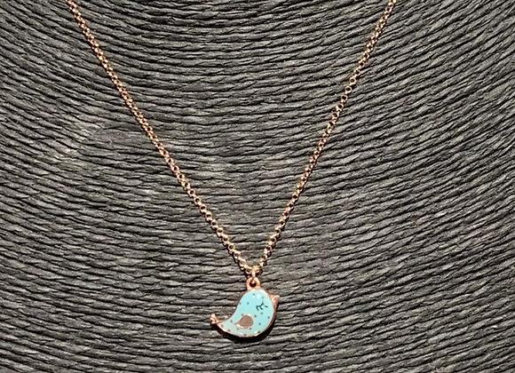 Collana argento placcato oro ciondolo uccellino azzurro
