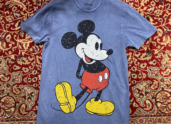 T-shirt uomo azzurra delavé stampa Mickey Mouse