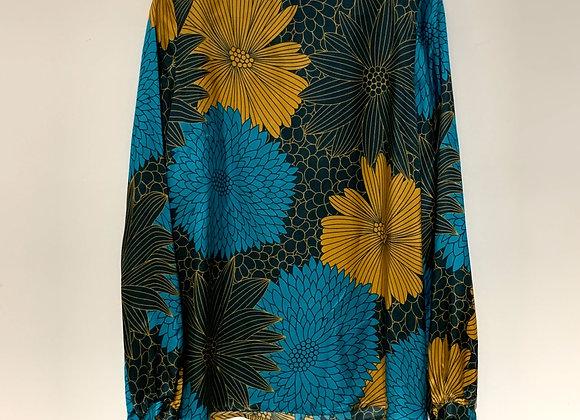 Blusa seta fiori verde azzurra Niù Fashion