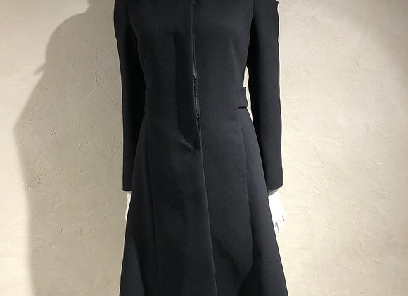 Cappotto nero colletto camicia retro plissé