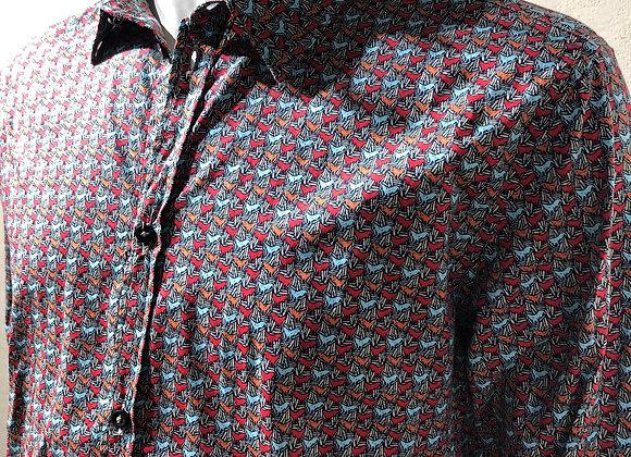 Camicia cotone stampa galli BL.11