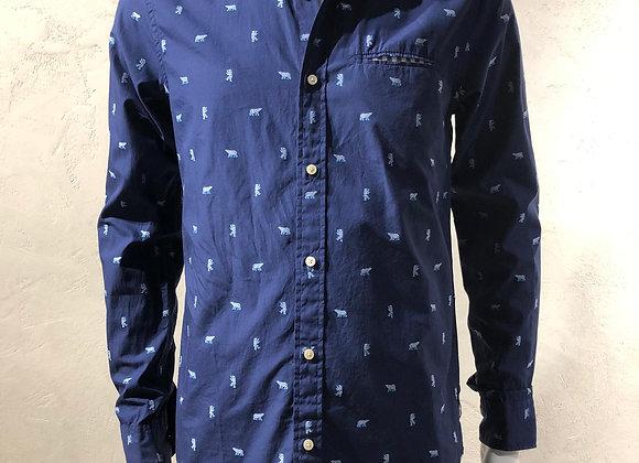 Camicia cotone blu stampa orsi Scotch & Soda