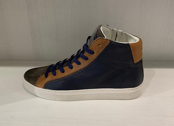 Sneakers alta pelle blu e marrone  Crime London