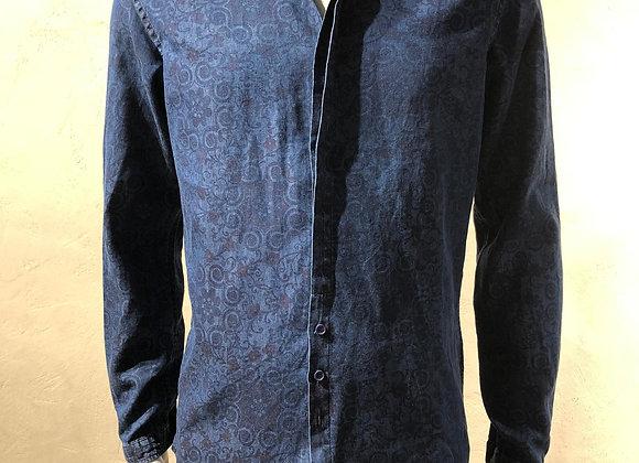 Camicia cotone denim delavé stampa cashmere BL.11
