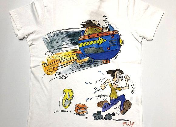 T-shirt uomo bianca stampa fumetto