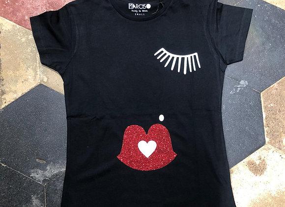 T-shirt manica corta nera occhio labbra