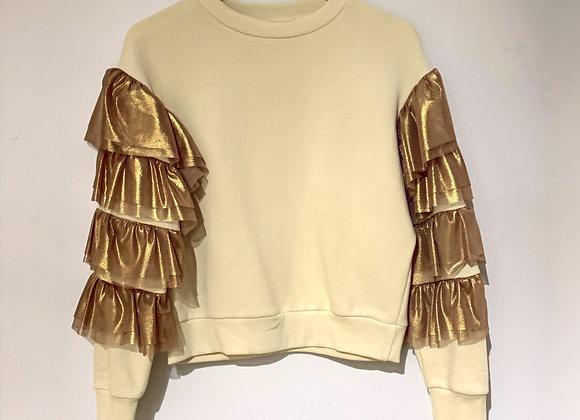 Felpa crop panna con rouches dorate maniche D'Elle
