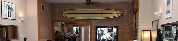 John's surfboard and how the salon used to look.