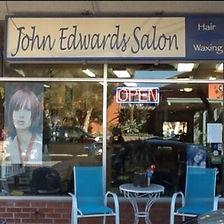 Old John Edwards Salon sign