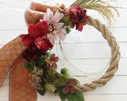 new year wreath with kurashikiribbon
