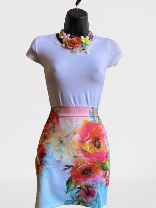 Floral Collage Mini Skirt