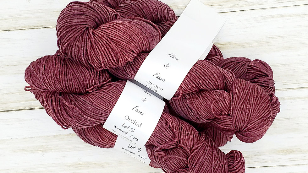 Orchid Worsted Weight 218 yards Lot 3