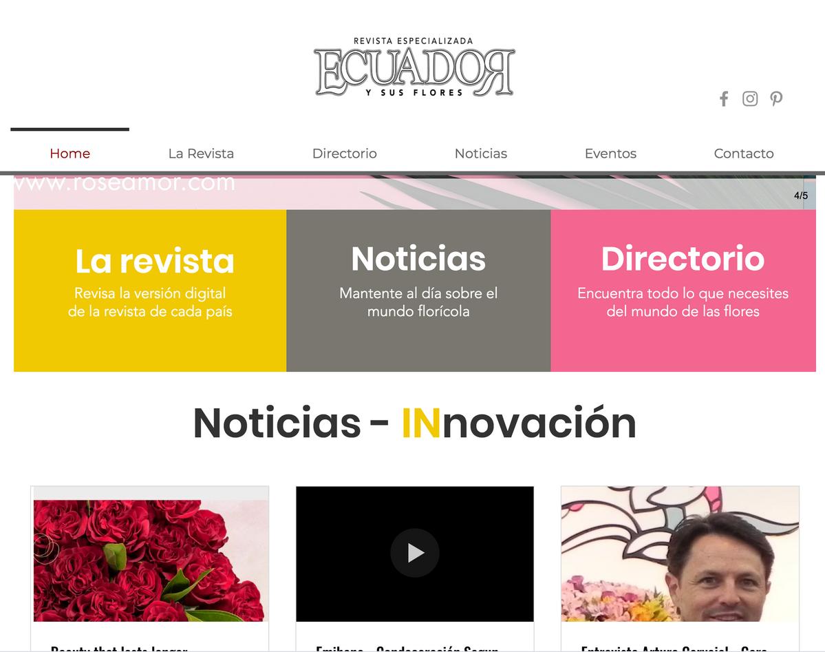 Web Ecuador y sus flores