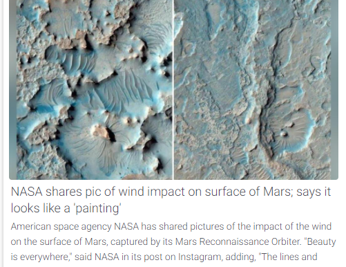 NASA shares pic of wind impact on surface of Mar; says it looks like a 'painting'