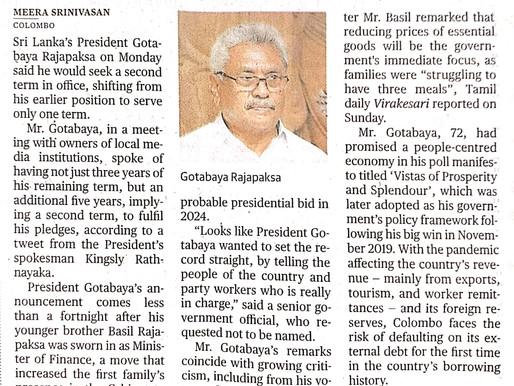 Gotabaya Rajapaksa to seek second term as President
