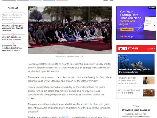 Rockets Target Afghan Presidential Palace Ghani slams Taliban Pakistan