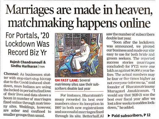Marriages are made in heaven, matchmaking happens online