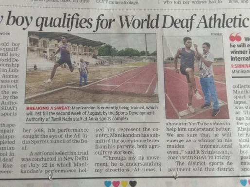 Trichy boy qualifies for World Deaf Athletic event