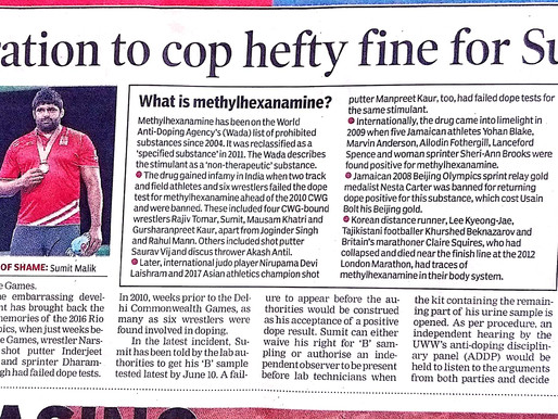 Wrestling federation to cop hefty fine for Sumit's dope test