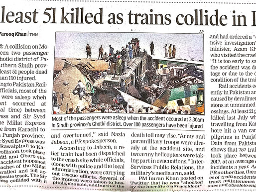 At least 51 killed as trains collide in Pak