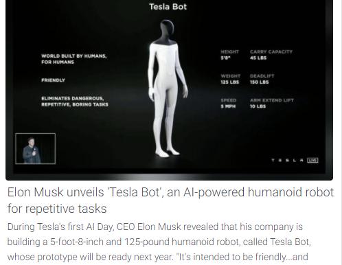 Elon Musk unveils 'Tesla Bot' an Al-powered humanoid robot for repetitive tasks