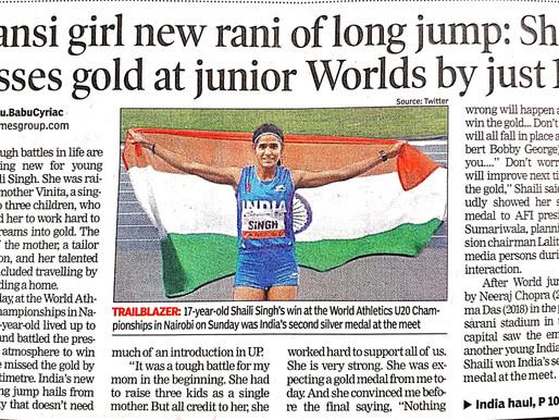 Jhansi girl new rani of long jump: Shaili misses gold at junior Worlds by just lcm