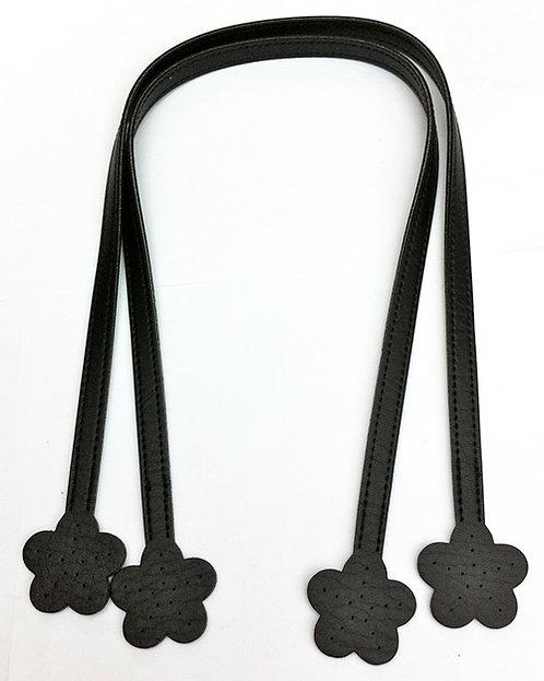 Black Handbag Handles with Flower Ends 60cm