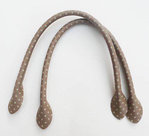 Beige polka dot bag handles 70cm