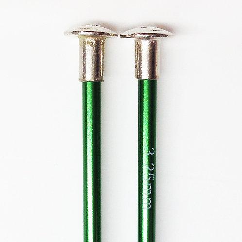 Knitting needles ALUM 3.25mm x 25cm green