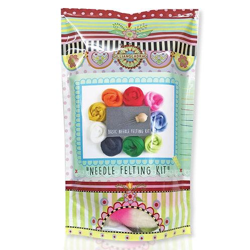 Basic Needle Felting Kit in Packet with wool