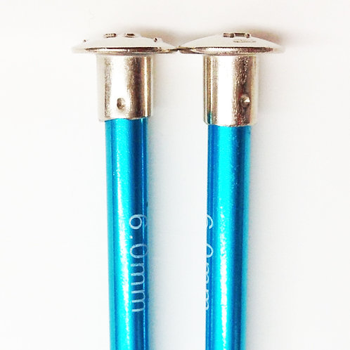 Knitting needles ALUM 6.0mm 25cm turquoise