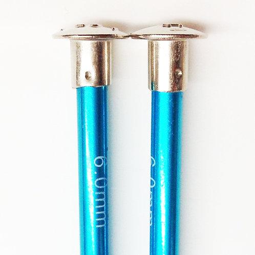 Knitting needles ALUM 6.0mm 35cm turquoise