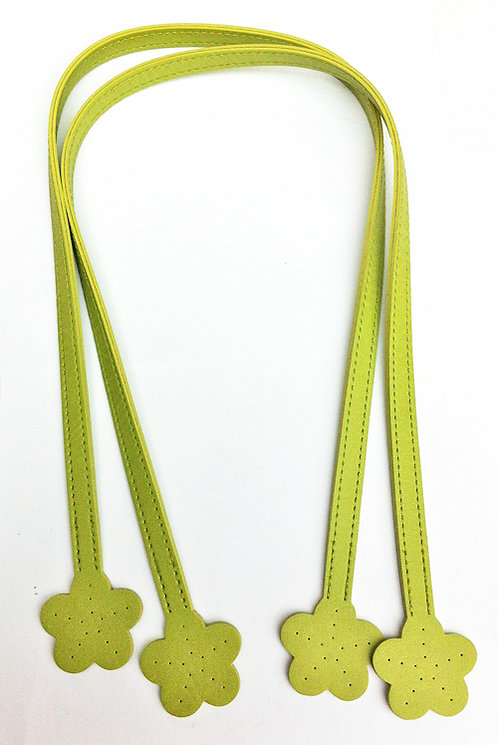 Green Handbag Handles with Flower Ends 60cm