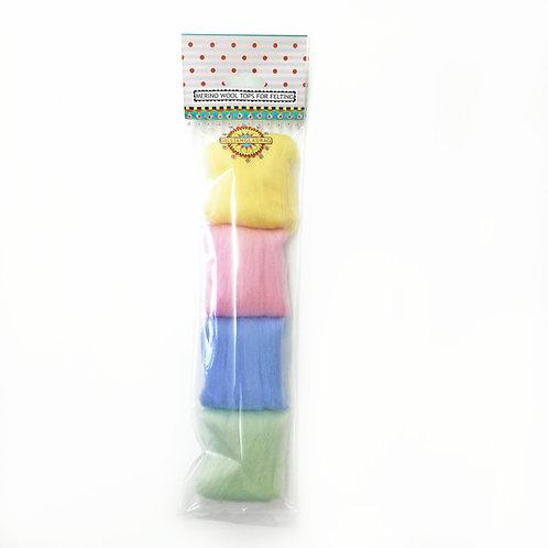 FELTING WOOL: 25g merino packs PASTELS ( x 5 packs)