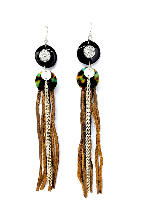 Kaily Long Leather Earrings