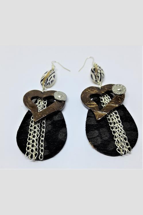 Cara Black Heart Earrings
