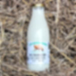 Organic semi skimmed milk in a glass bottle